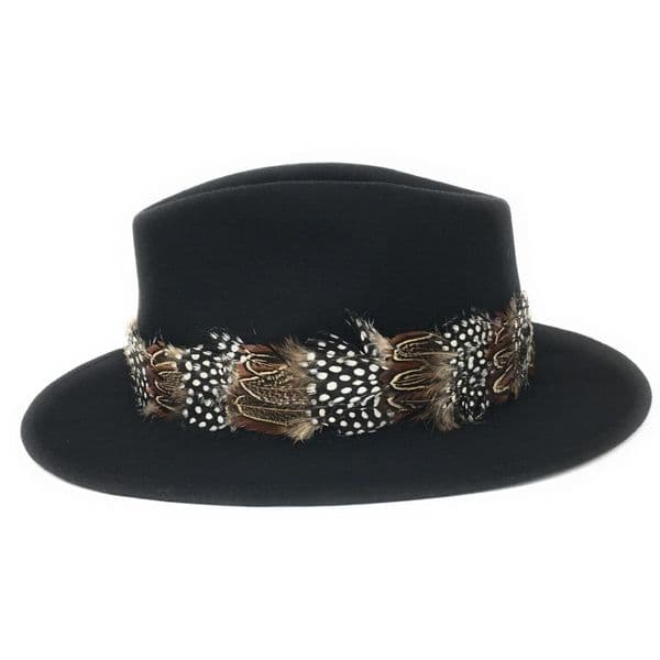 Womens Showerproof Wool Black Fedora Hat with Country Feather Wrap Trim - Chadlington